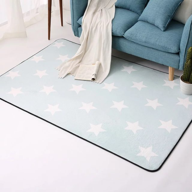 Anti-Slip Soft Geometric Patterned Carpets For Baby Bedroom