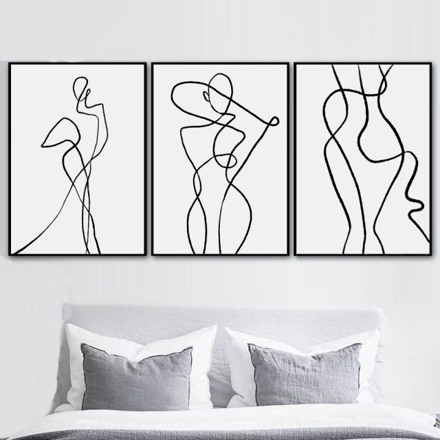 Geometric One Line Wall Posters for Living Room