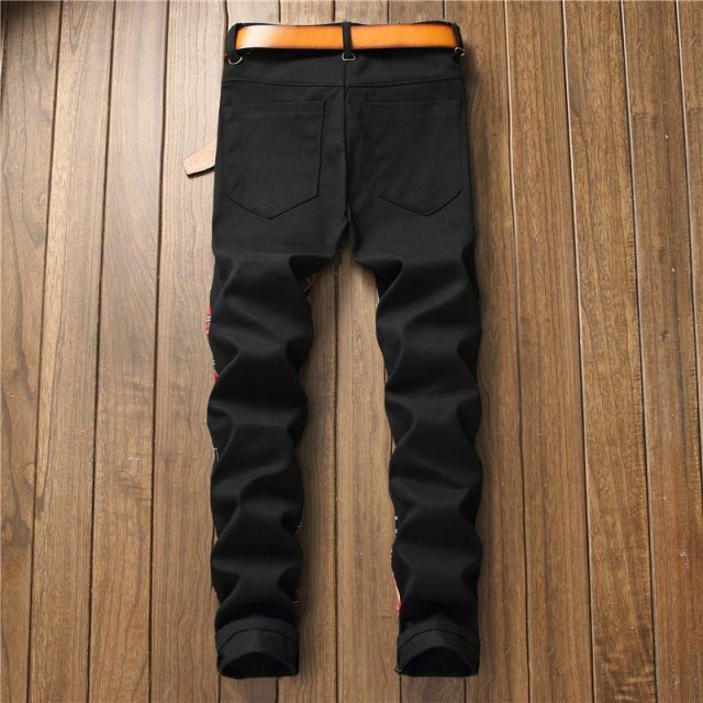 Men's Printed Jeans with Patches