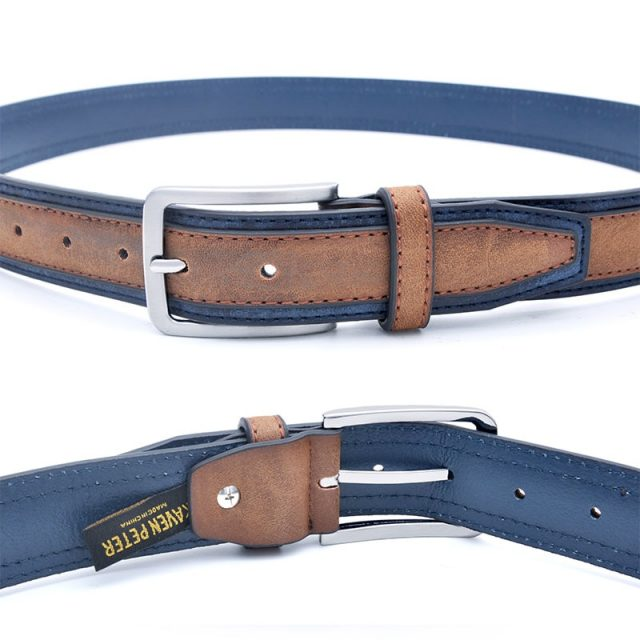 Casual Patchwork Leather Belt for Men