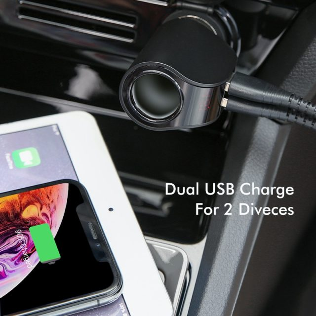 Dual USB Car Charger with Digital Display