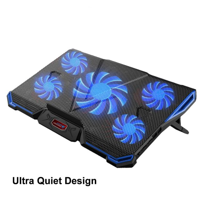 Laptop Cooling Pad 2 USB 5 Fan Gaming Led Light Notebook Cooler for 12-17 inch Macbook Laptop
